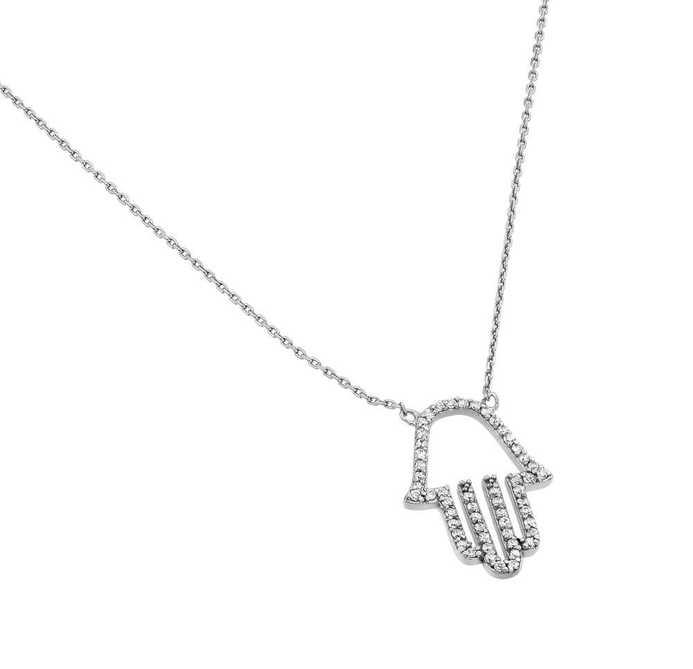 "Sterling Silver ""Hamsa"" Necklace"